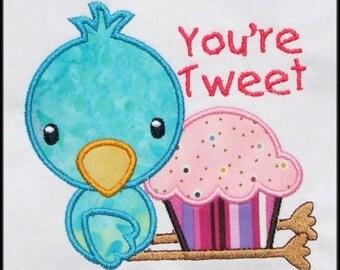 INSTANT DOWNLOAD You're Tweet cupcake chick Applique designs