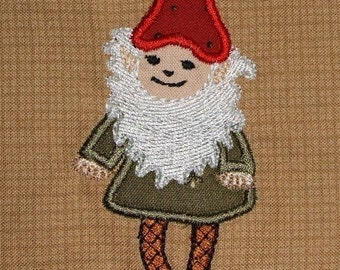 INSTANT DOWNLOAD GNOME Machine Embroidery Applique design for 4 x 4 and 5 x 7 hoop