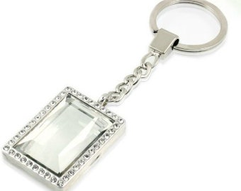 DIY For Memory Floating Key Ring Key Chain Rectangular Glass  with Strong Magnetic Closure Great Bridesmaid Gifts
