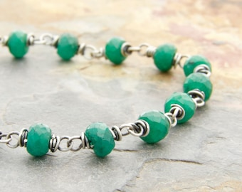 Boho Emerald Birthstone Jewelry - Green Birthstone Bracelet - Genuine Emerald Bracelet - May Birthstone - Sterling Silver - #4884