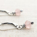 Pink Gemstone Rose Quartz Earrings - Sterling Silver Leverback - Valentines Day Gift for Girlfriend - #4918