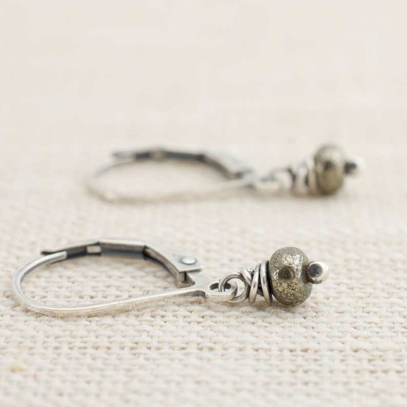 Pyrite Small Dangle Earrings Fool's Gold Sterling Silver image 0