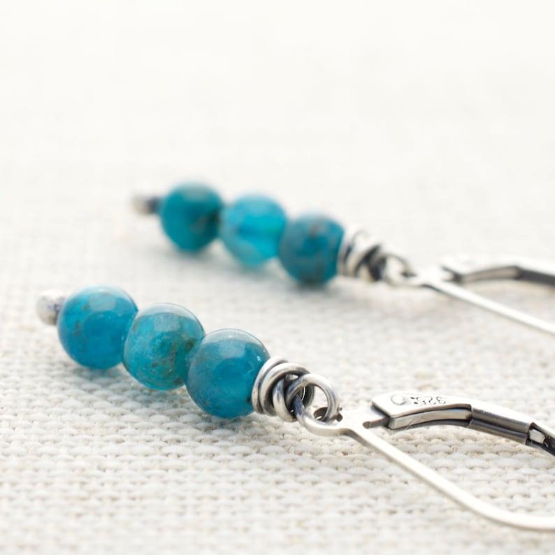 Teal Blue Apatite Gemstone Short Dangle Earrings with Sterling image 0