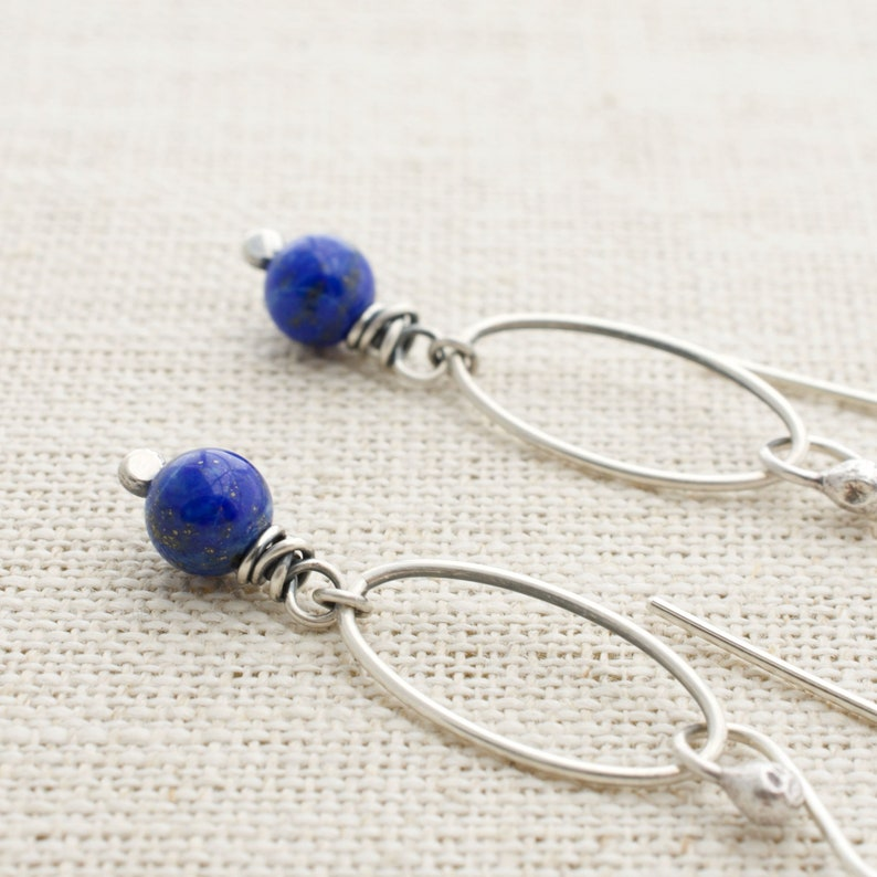 Lapis Lazuli Earrings Cobalt Blue Mothers Day Gift from image 0