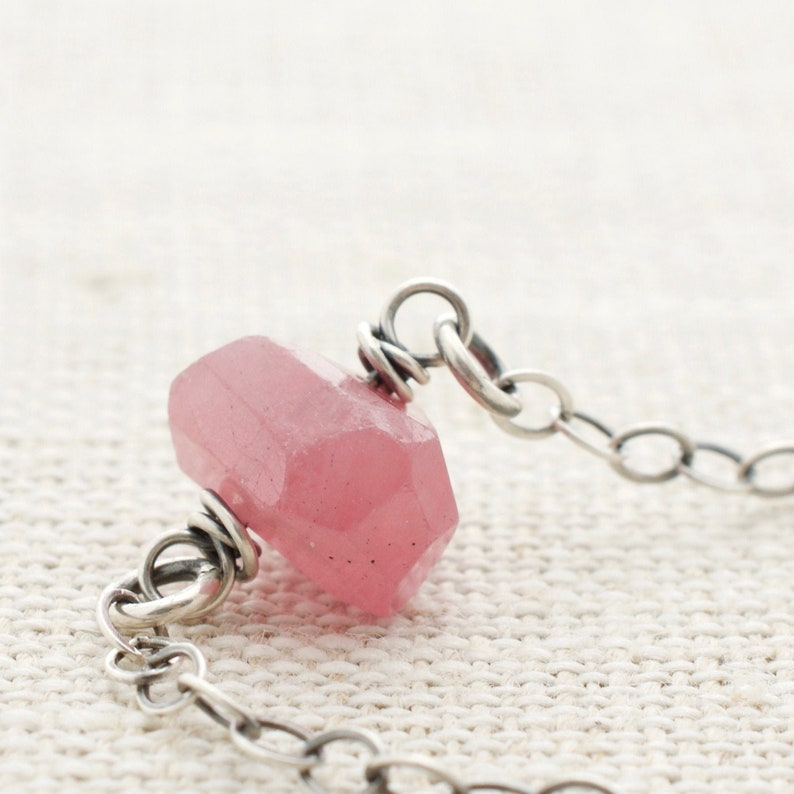 Genuine Pink Sapphire Necklace  September Birthstone Gift  image 0