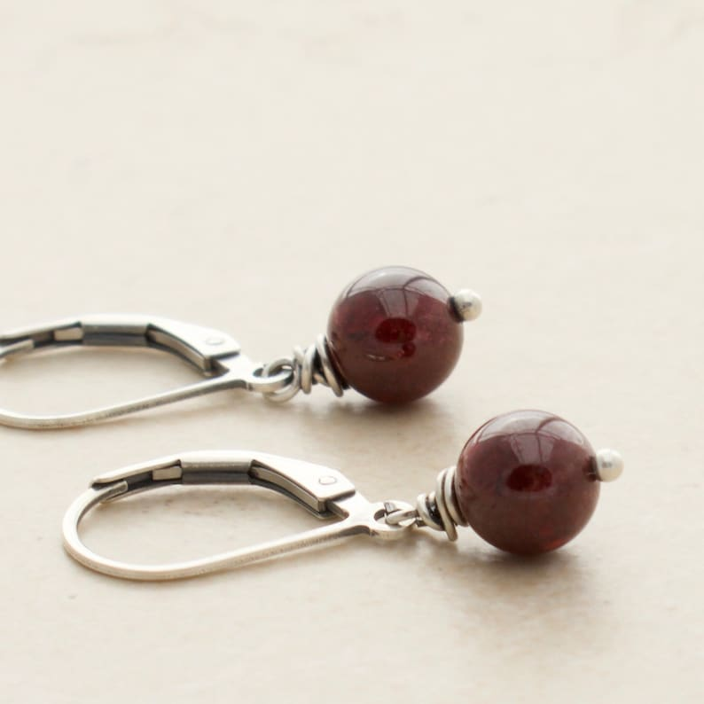 January Birthstone Earrings  Red Garnet  Sterling Silver  image 0