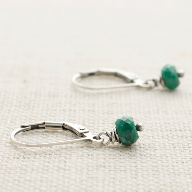 Emerald Earrings Sterling Silver May Birthstone Jewelry image 0
