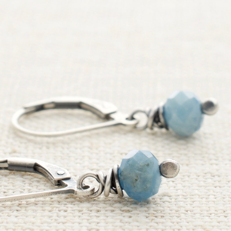 Aquamarine Earrings with Sterling Silver  March Birthstone  image 0