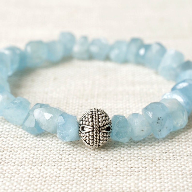 Aquamarine Gemstone Faceted Nuggets Stretch Bracelet Sterling image 0