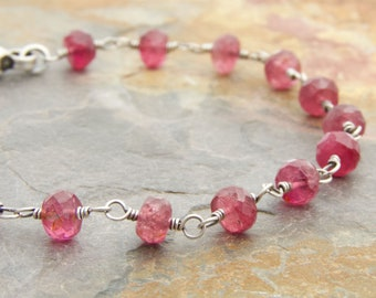 Pink Tourmaline Bracelet - October Birthstone - Faceted Pink Gemstones - Sterling Silver - October Birthday Gift  #4932