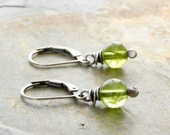 Peridot Earrings - Green Gemstone Earrings - August Birthstone - Sterling Silver - Lever Back Ear Wires #4909