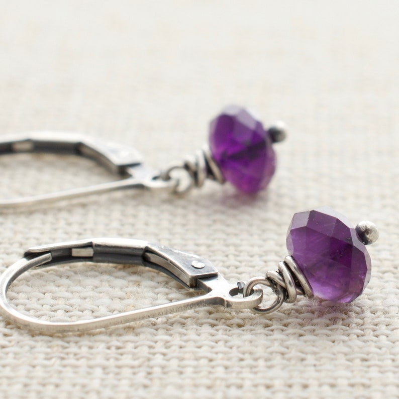 Amethyst Drop Earrings Purple February Birthstone Sterling image 0