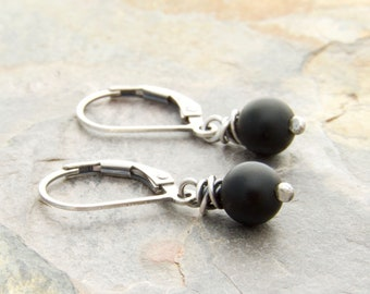 Matte Black Onyx Earrings - Gemstone Dangle Earrings - Sterling Silver #4786