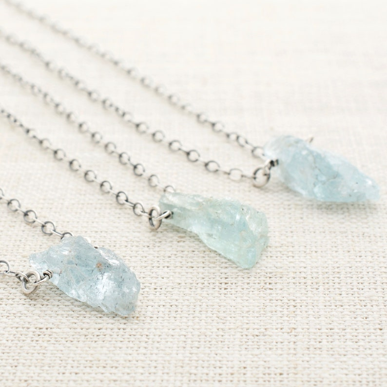 Raw Aquamarine Pendant Necklace  March Birthday Jewelry Gift image 0