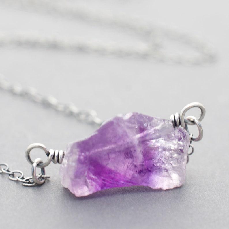 Raw Amethyst Purple Birthstone Necklace  Sterling Silver  image 0