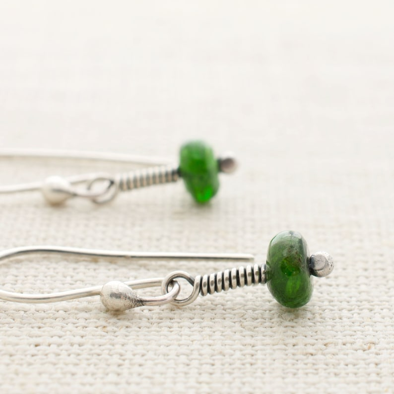 Chrome Diopside Earrings with Sterling Silver Mothers Day image 0