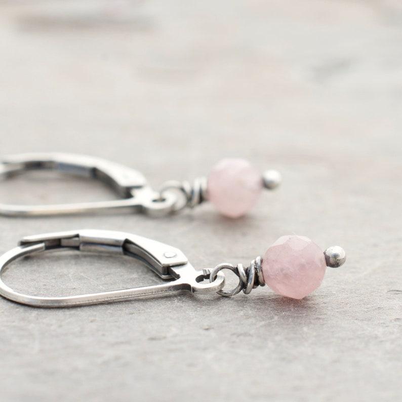 Faceted Rose Quartz Earrings  Pink Gemstone  Sterling Silver image 0
