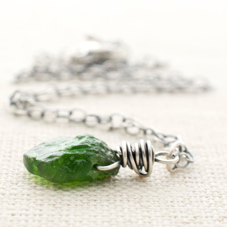 Green Teardrop Chrome Diopside Pendant Necklace Wire Wrapped image 0