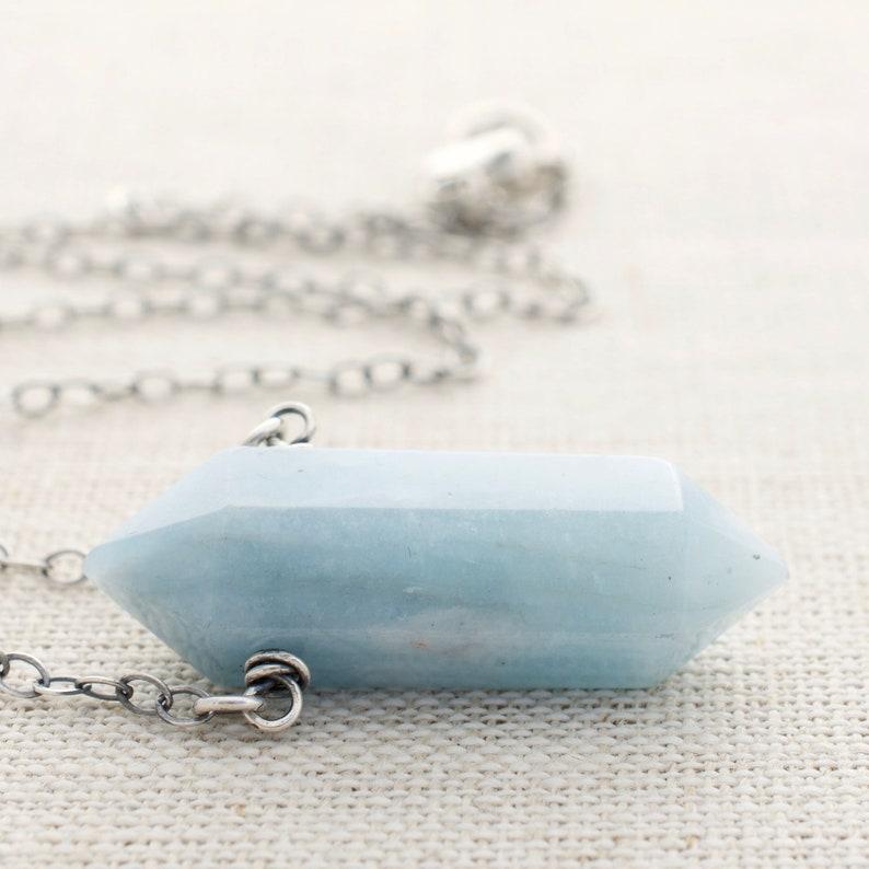 Aquamarine Pendant Necklace  Double Terminated  March image 0