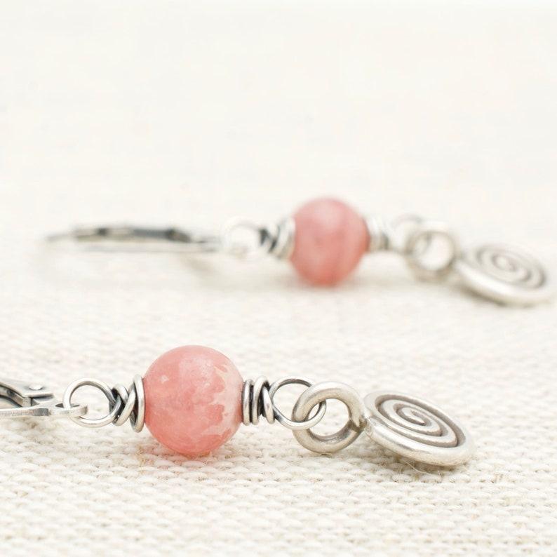 Rhodochrosite Earrings  Pink Gemstone Dangle Earrings  image 0