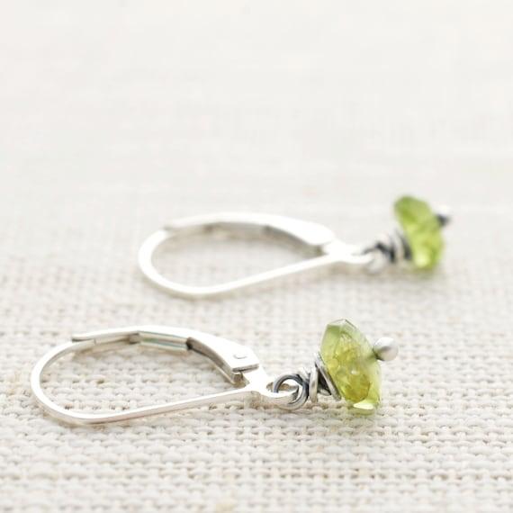 Dangle earrings Green Peridot Earrings Peridot Rain Peridot Jewelry Green Jewelry August Birthstone Jewelry