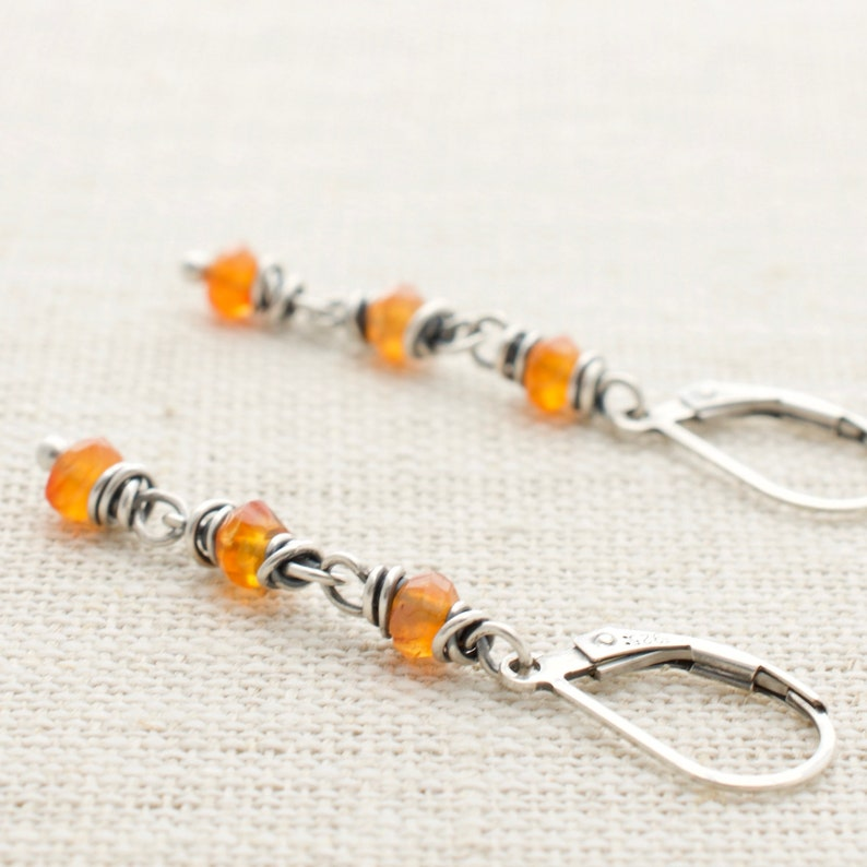 Orange Dangle Earrings  Carnelian Gemstone  Sterling Silver image 0