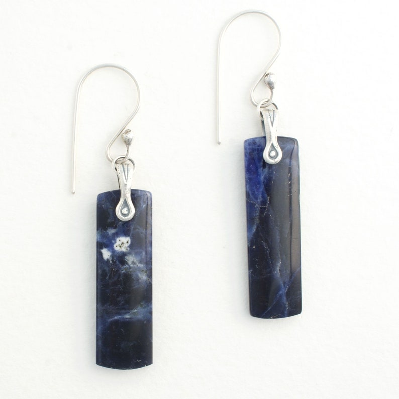 Deep Blue Gemstone Sodalite Dangle Earrings Sterling Silver image 0