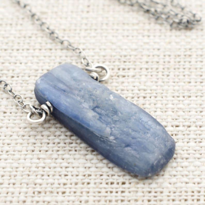 Minimalist Blue Kyanite Gemstone Pendant Necklace With image 0