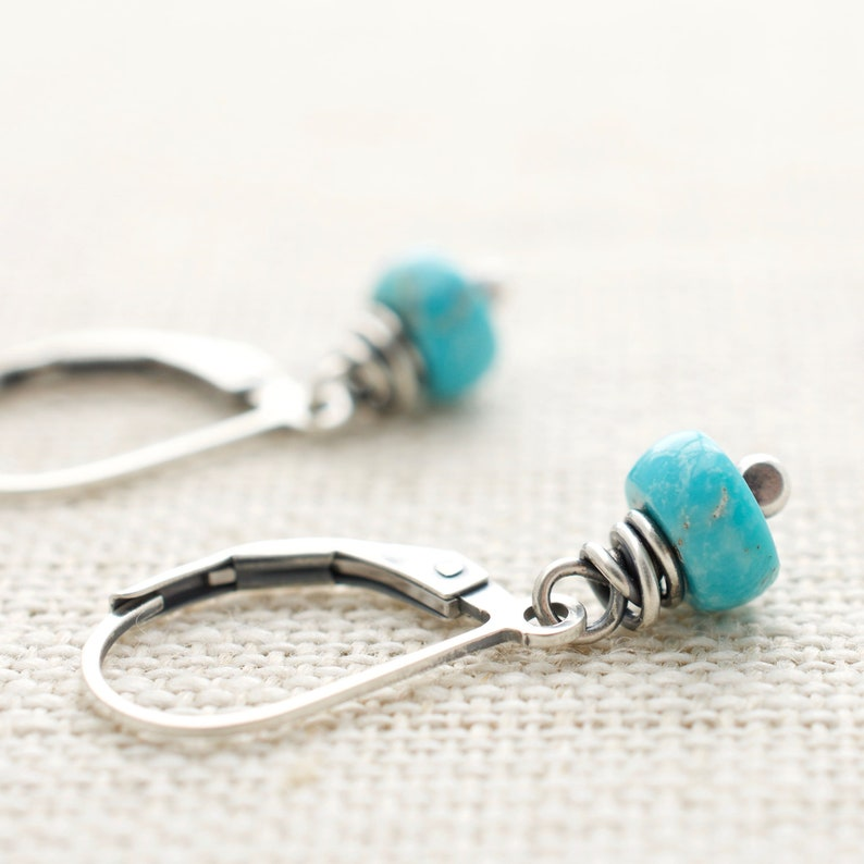Turquoise Jewelry  Best Friend Birthday Gift  Leverback image 0