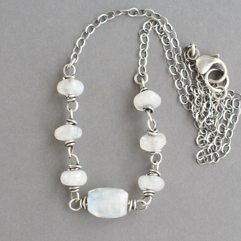Rainbow Moonstone Necklace Sterling Silver Wire Wrapped image 0