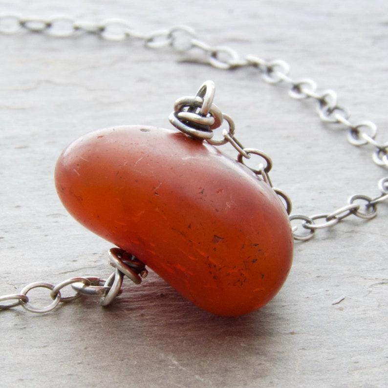 Burnt Orange Carnelian Gemstone Necklace  Autumn Jewelry  image 0