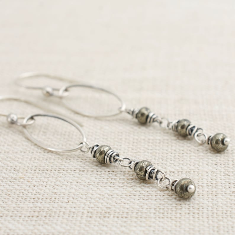 Pyrite and Sterling Silver Boho Chic Dangle Earrings. Wire image 0