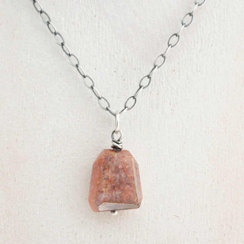 Orange Sunstone Necklace  Small Faceted Pendant  Gemstone image 0
