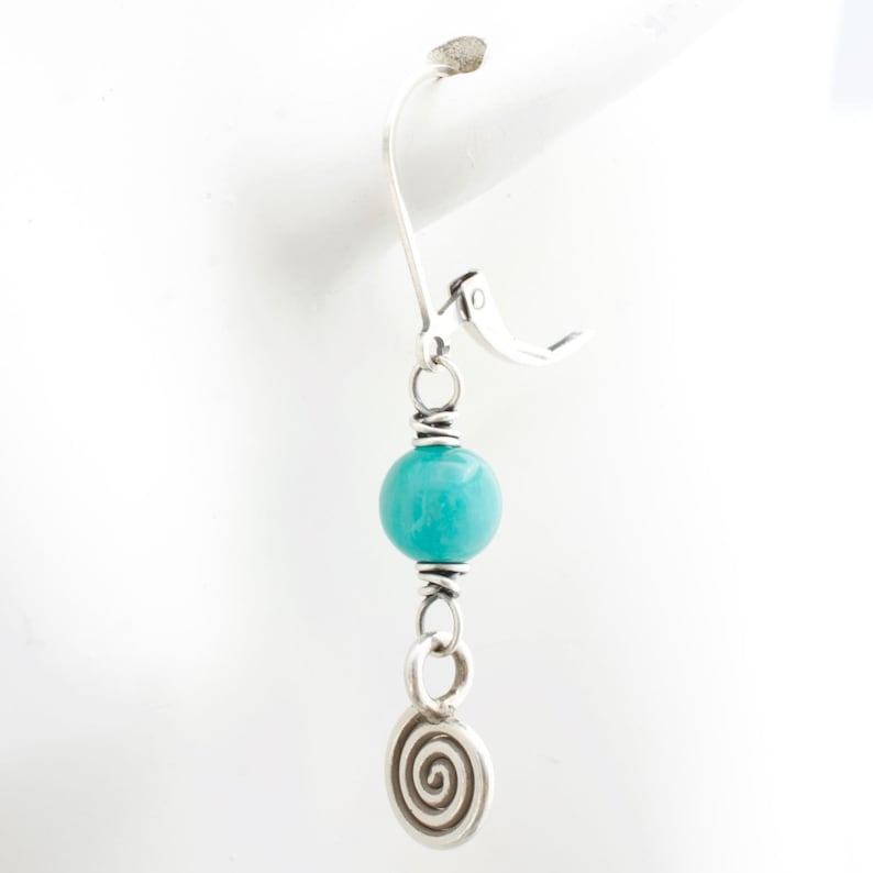 Lever Back Blue Green Amazonite Gemstone Earrings with Spiral image 0