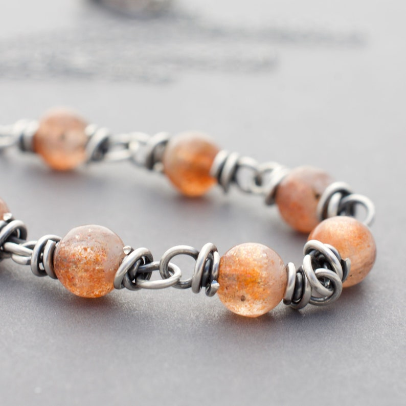 Burnt Orange Sunstone Gemstone Necklace  Sterling Silver Wire image 0