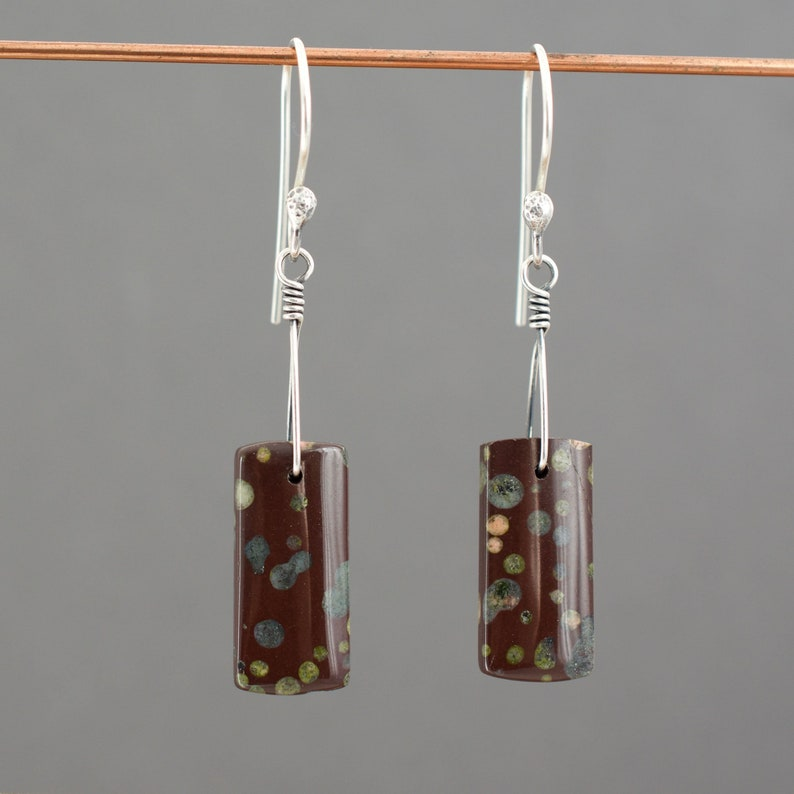 Orbicular Jasper Earrings  Maroon Plum Blossom Jasper image 0