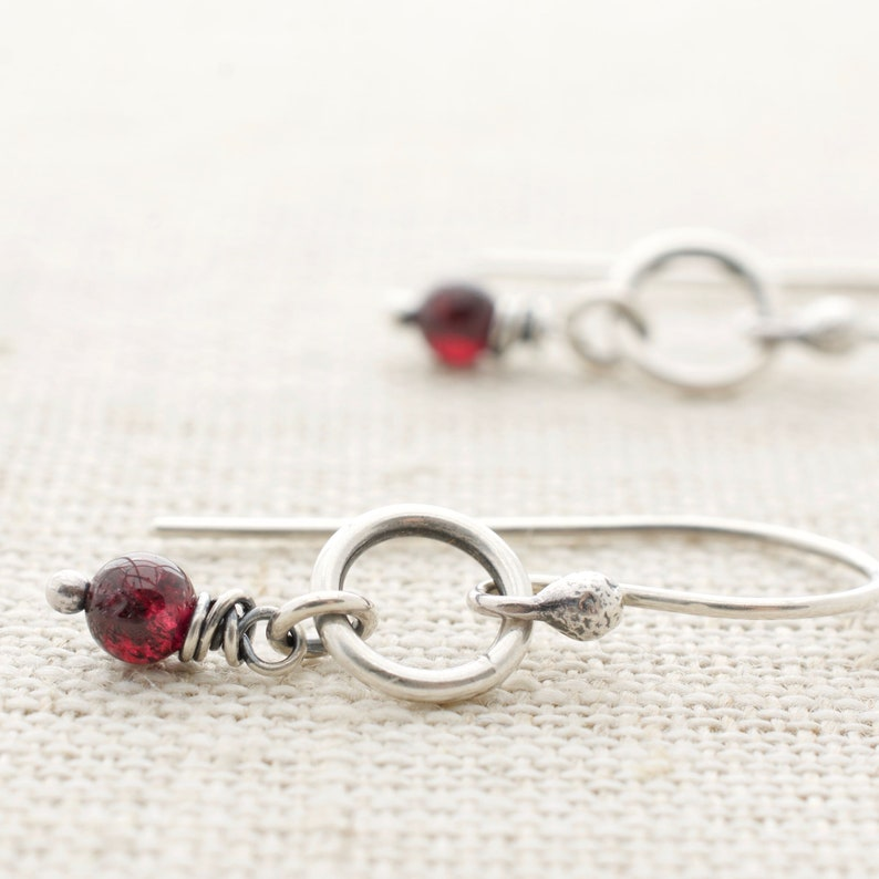 Garnet Jewelry  Dangle Earrings  January Birthstone  image 0