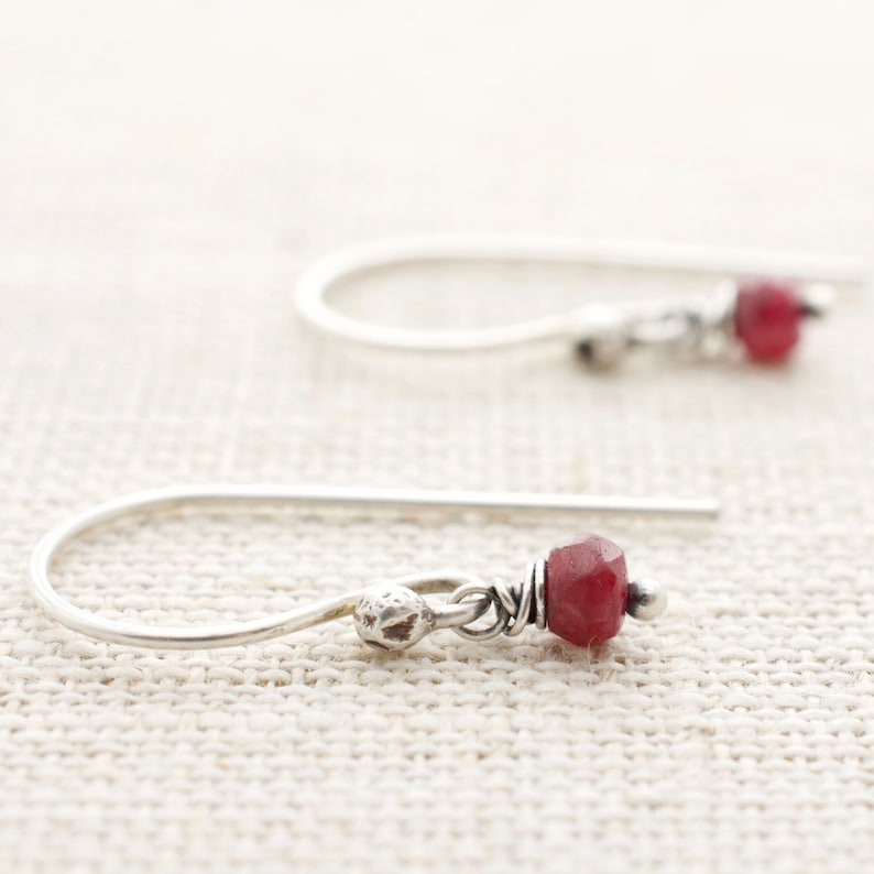 July Birthstone Ruby Earrings with Sterling Silver  Boho Chic image 0