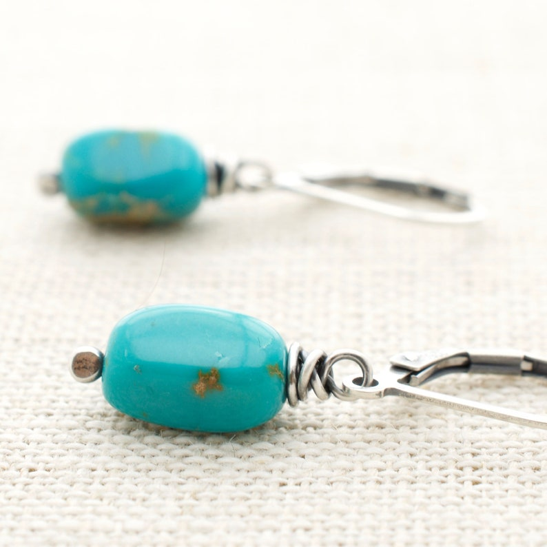 Wire Wrapped Turquoise Gemstone Earrings  Sterling Silver image 0