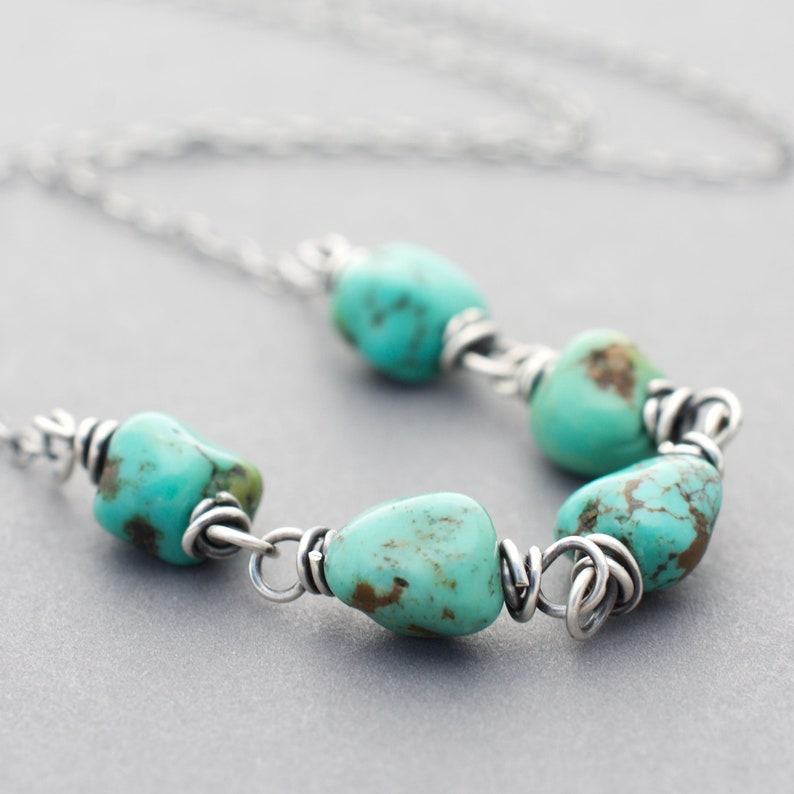 Small Turquoise Nugget Necklace  Sterling Silver  Genuine image 0
