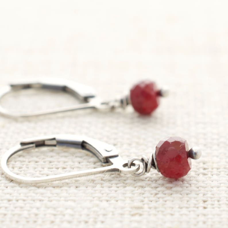 Ruby Earrings  July Birthstone  Gift for Wife  Gemstone image 0