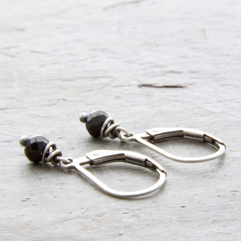 Petite Black Spinel Gemstone Earrings with Sterling Silver image 0