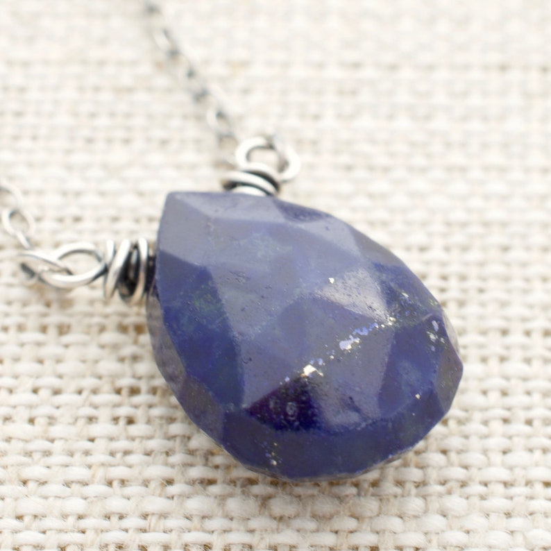 Cobalt Blue Teardrop Necklace  Lapis Lazuli Gemstone Pendant image 0