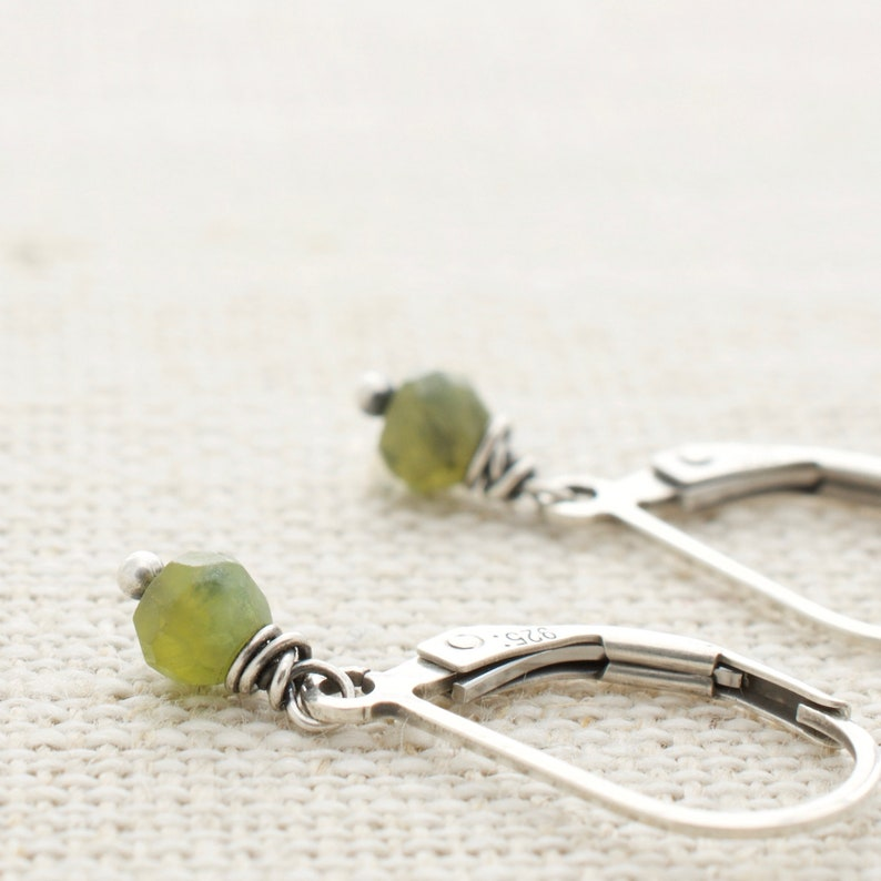 Vesuvianite Olive Green Earrings Sterling Silver Leverback image 0