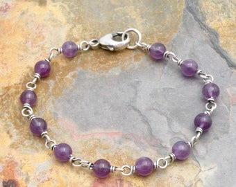 February Birthstone Bracelet - Amethyst Bracelet for Women - Layering Bracelet - Purple Birthstone for Women - Sterling Silver   #4751