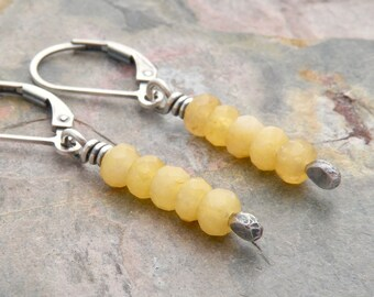 Golden Yellow Onyx Gemstone Earrings - Honey Onyx - Sterling Silver - Small Dangles - Lever Back #4812