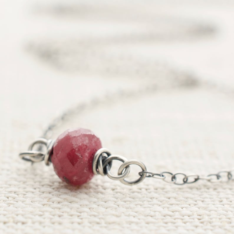 Single Ruby Necklace  July Birthstone  Sterling Silver  Red image 0