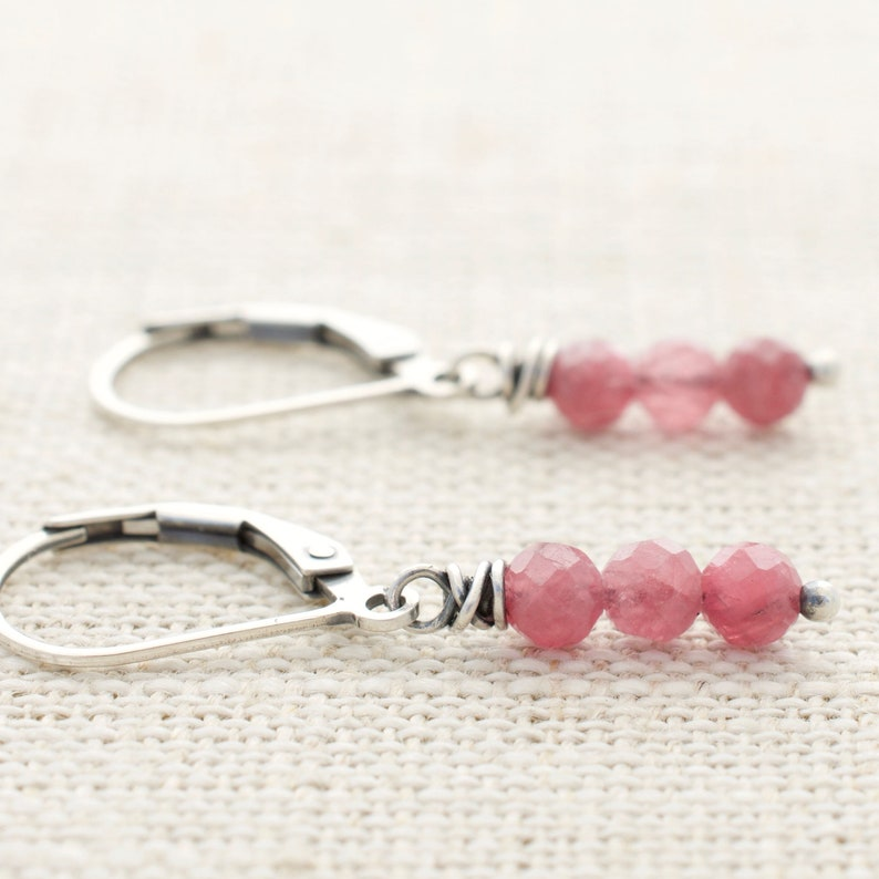 Petite Pink Tourmaline Gemstone and Sterling Silver Lever Back image 0