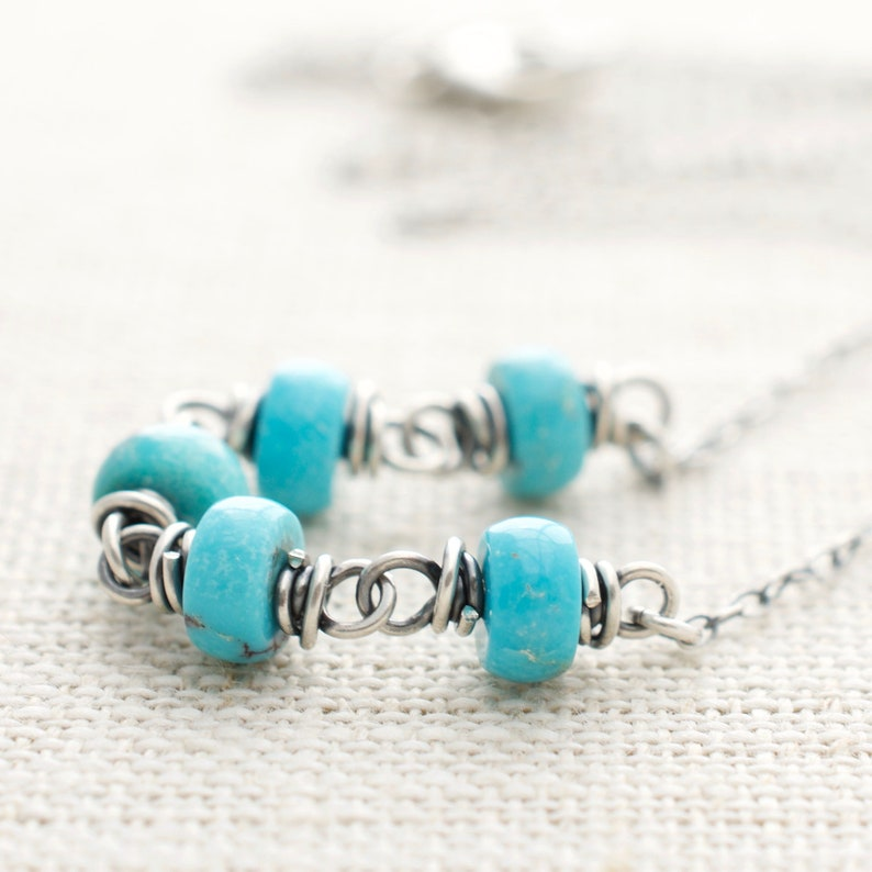 Genuine Turquoise Necklace  Sterling Silver  Wire Wrapped  image 0