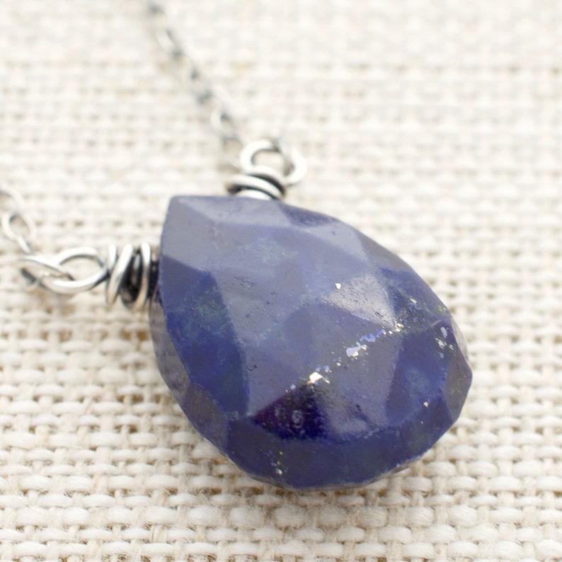 Lapis Lazuli Necklace  Sterling Silver  Blue Gemstone image 0